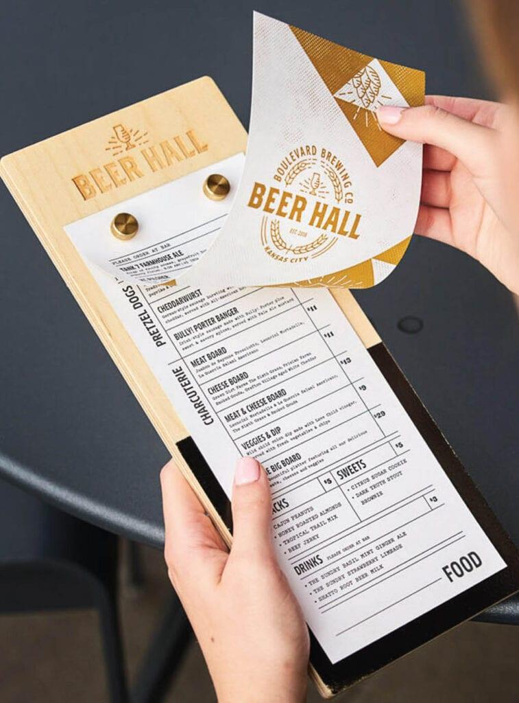 Boulevard Beer Hall – Menu Design by Carpenter Collective
