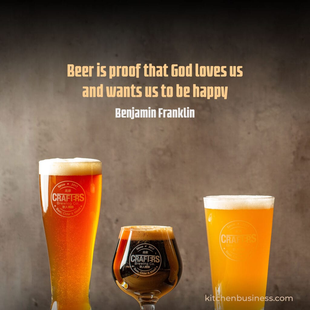 Beer and brewery quote by benjamin Franklin