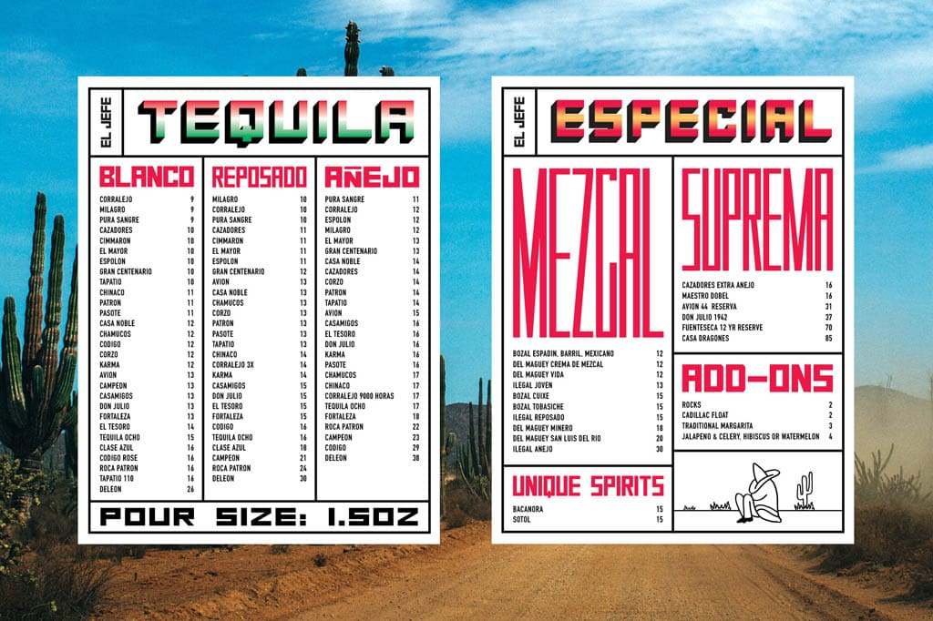 El Jefe Tequila Bar Menu Design by CLUB
