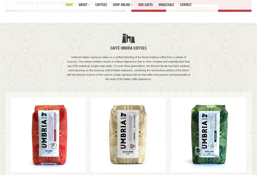 Website of Caffe Umbria Coffee