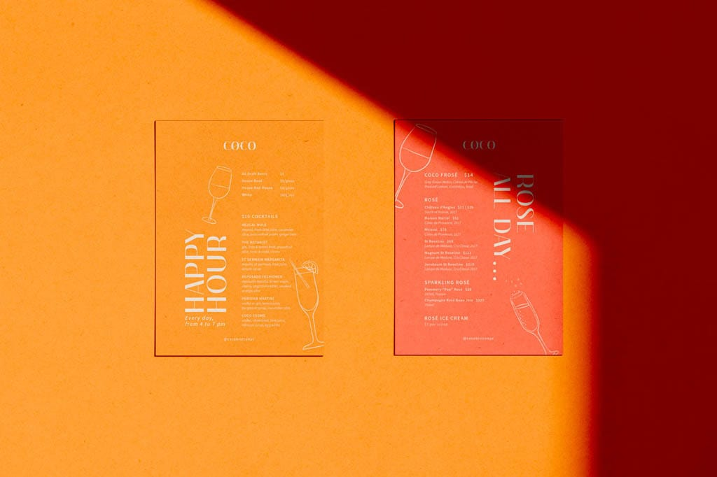 Coco Bistro Menu Design by Laurianne Froesel