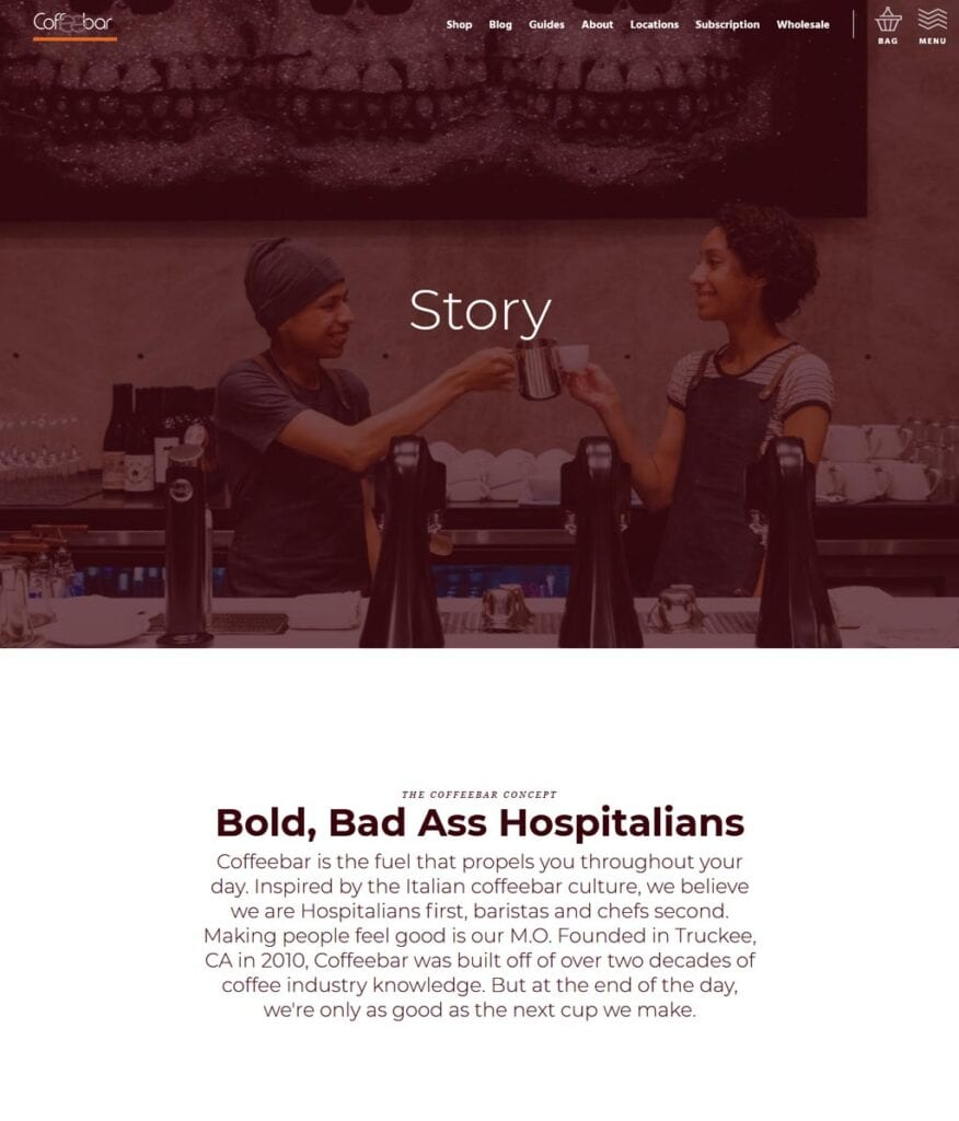 Website of Coffeebar- located in Silicon Valley, California.