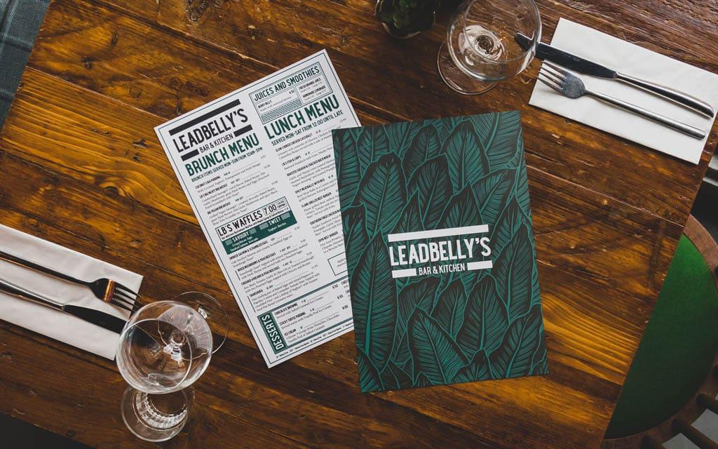 Leadbellys Bar & Kitchen Menu Design by Betwixt & Between