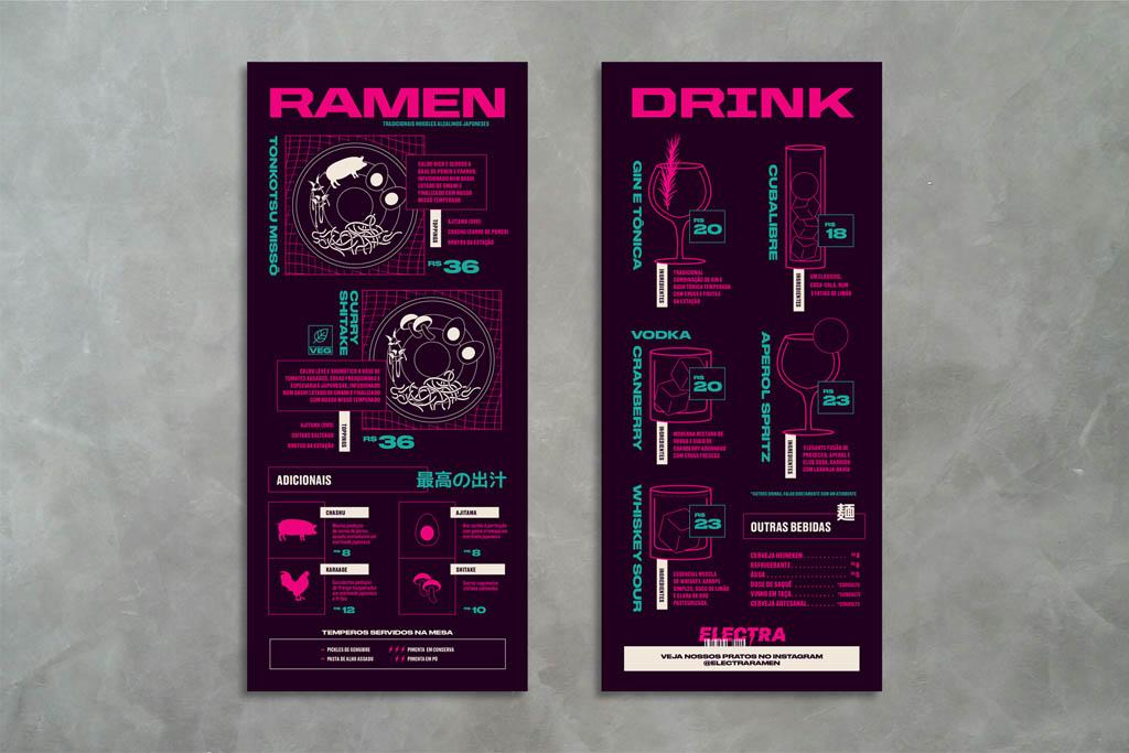 Electra Ramen Japanese Bar in Brasil - Menu Design by FatFaceStudio