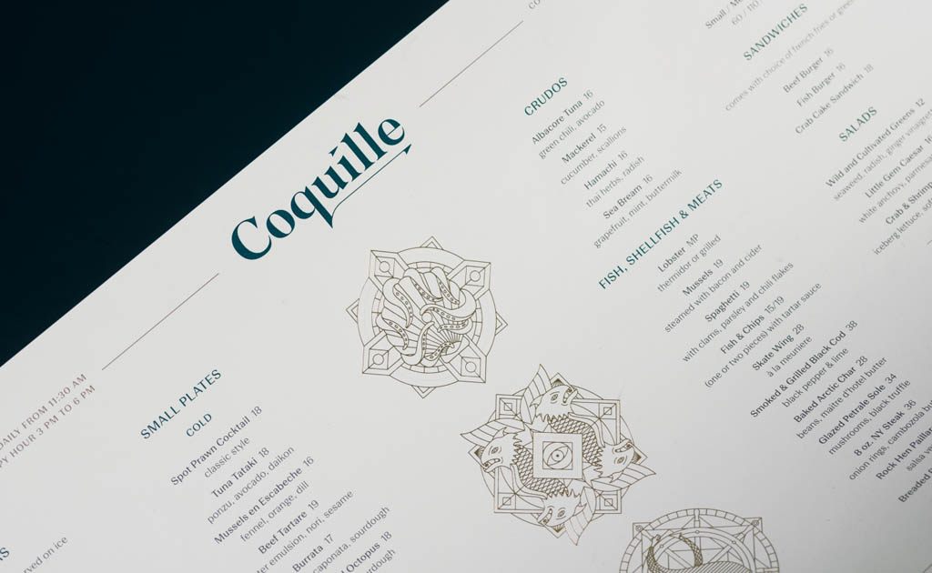 Coquille Fine Seafood Restaurant Menu Design by Glasfurd & Walker