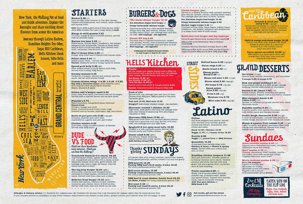 New York Grand Central Bar & Grill Menu Design by Eat With Your Eyes