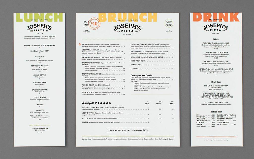 Joseph's Pizza Menu Design by Temper