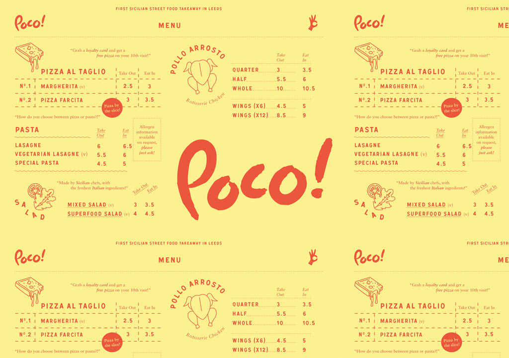 Poco! Sicilian Street Food Menu by Passport Design Bureau