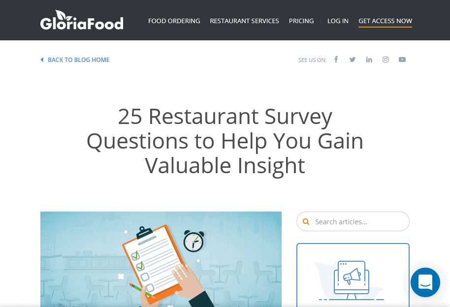 Screenshot 25 Restaurant Survey Questions to Help You Gain Valuable Insight GloriaFood Blog