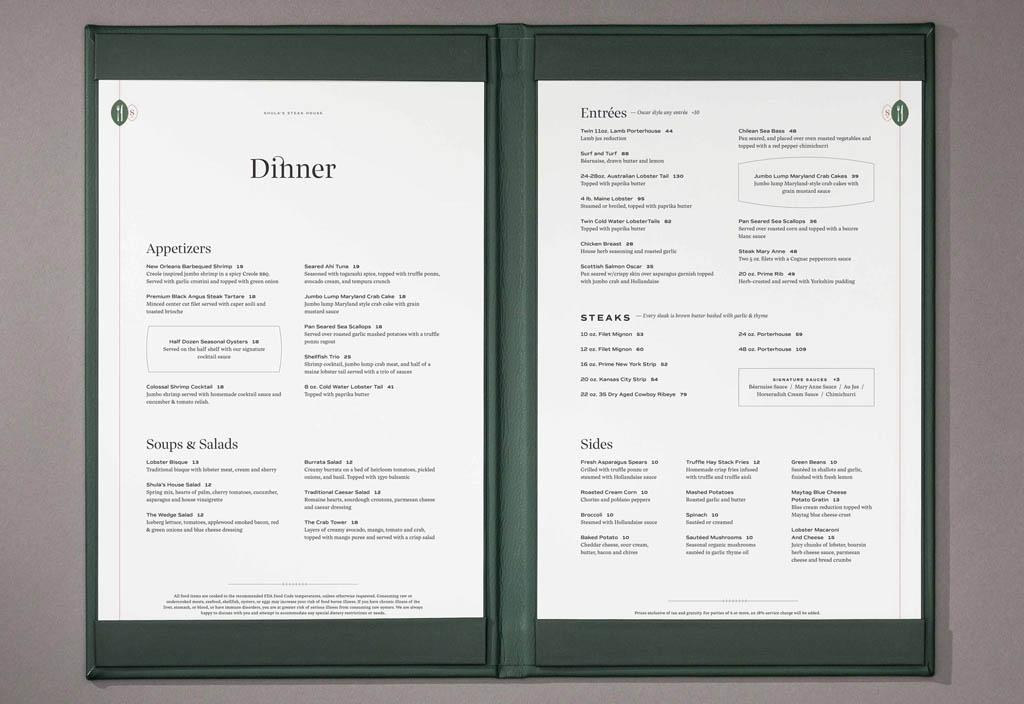 Shula's Steak House Menu Design by Temper