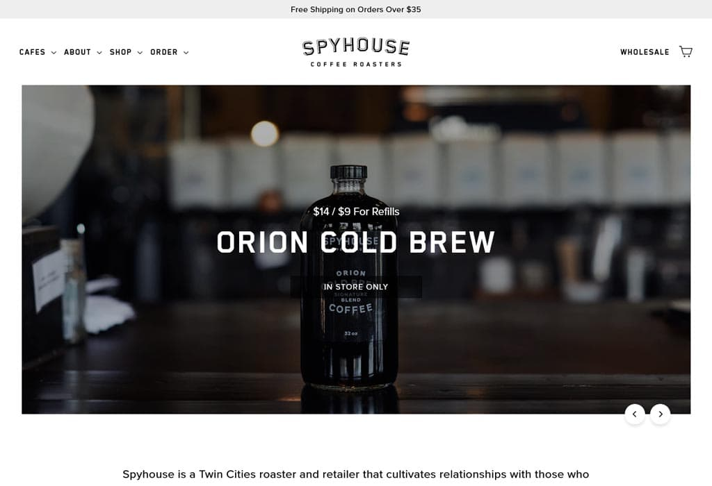 Image of the Website of Spy House Coffe Roasters