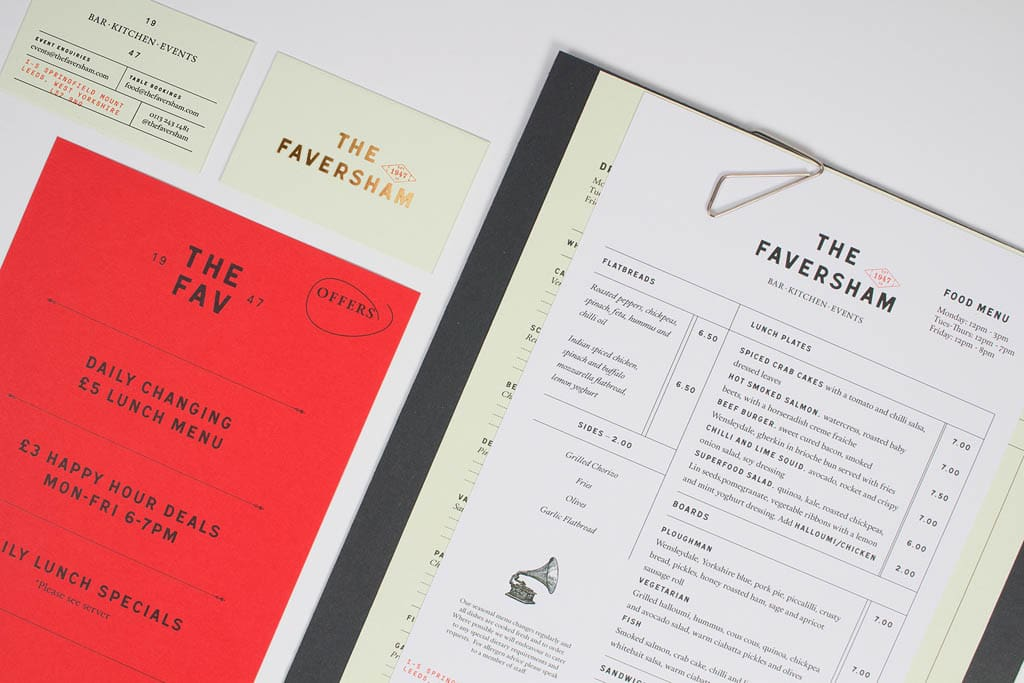 The Faversham Bar & Kitchen Menu Design by Passport Design Bureau