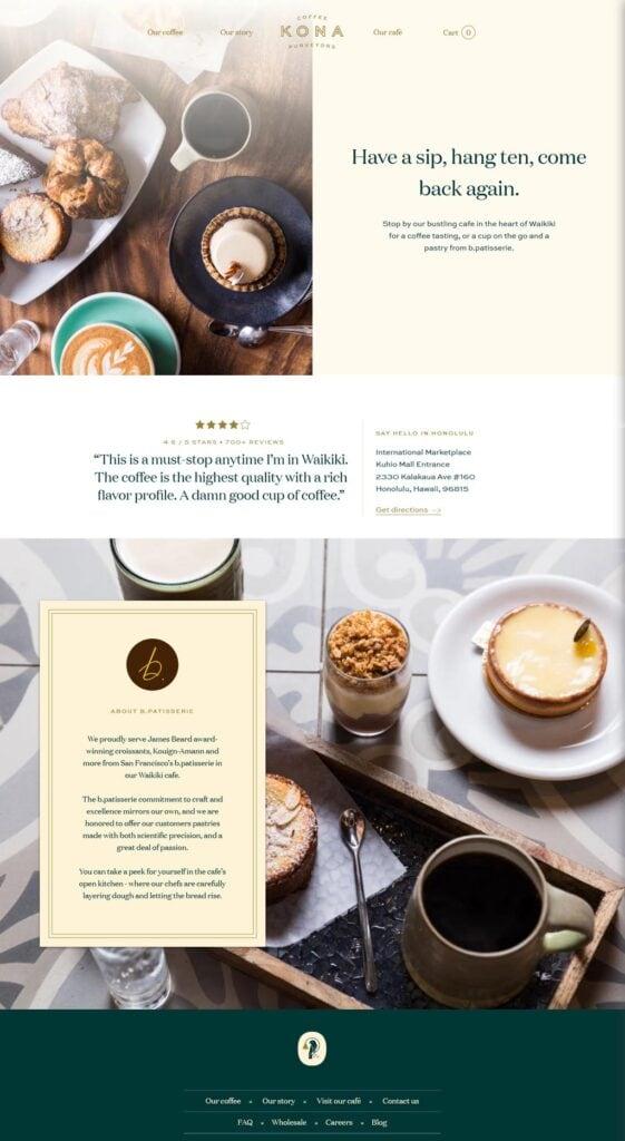 Website of Kona Coffee Purveyors