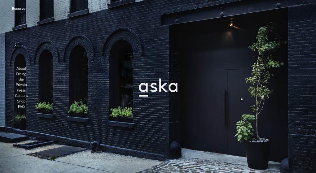 Aska is a two-star Michelin restaurant in Brooklyn Restaurant Website Design