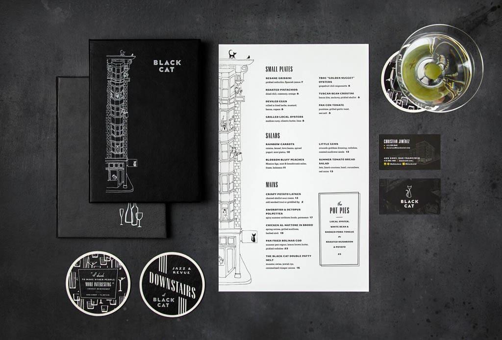 Black Cat Bar - Menu Design by Bootjack Design
