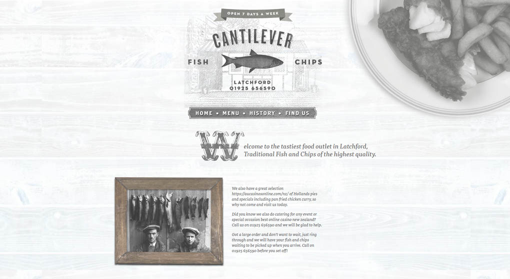 website - Cantilever is a traditional fish and chips shop in Latchford, UK. Restaurant Website Design