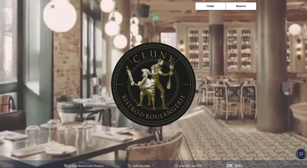 Website of Cluny - a French restaurant in Toronto. Restaurant Website Design