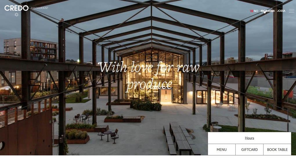 Website of Credo - a restaurant in Trondheim in northern Norway