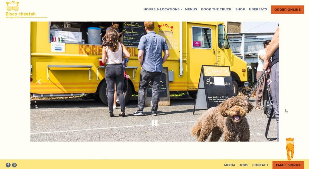 Disco Cheetah food truck website - Restaurant Website Design
