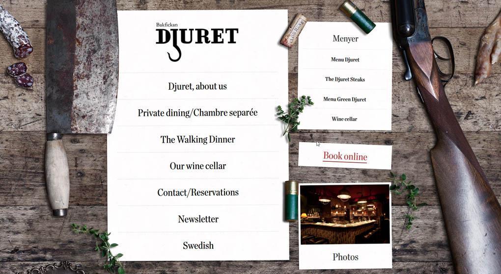 website of The restaurant Djuret (Animal) Stockholm