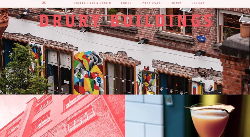 Drury Buildings is a Dublin restaurant - Restaurant Website Design