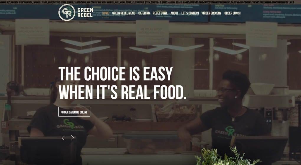 Green Rebel is a vegetarian restaurant chain in Ottawa, Canada. Restaurant Website Design