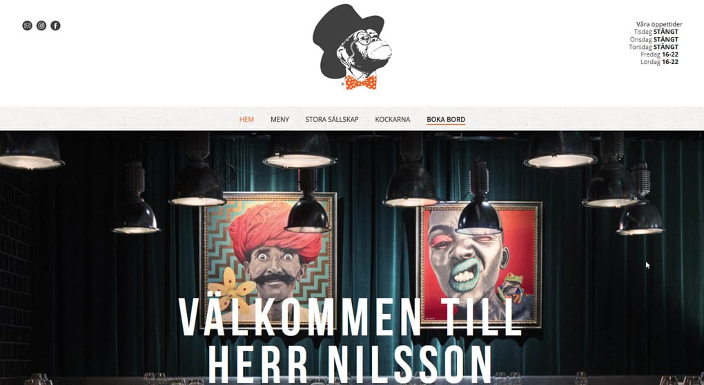 Herr Nilsson is a restaurant located in Sundsvall, Sweden. Restaurant Website Design