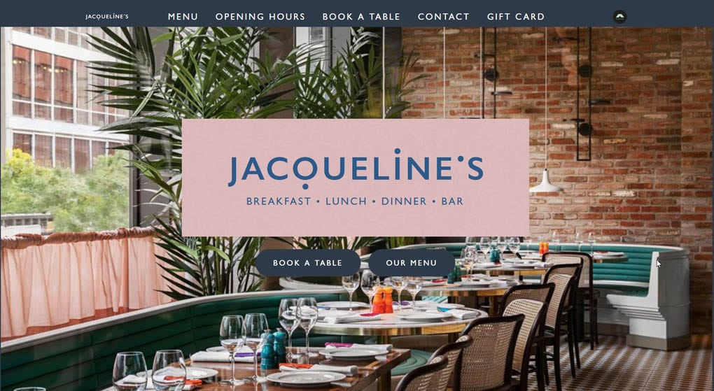 Jacqueline's is a contemporary diner located in Stockholm. Restaurant Website Design