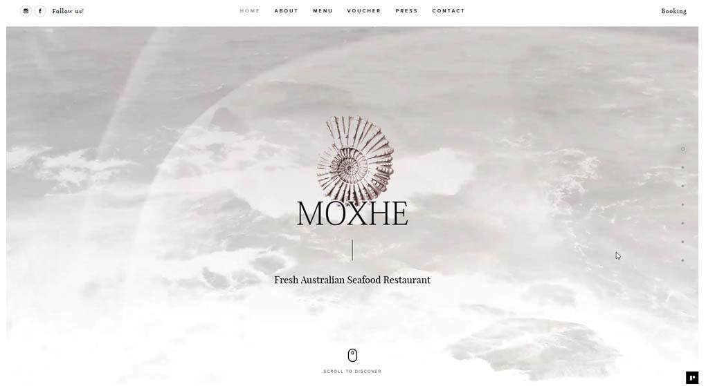 website - Moxhe specializes in fresh Australian seafood. Restaurant Website Design
