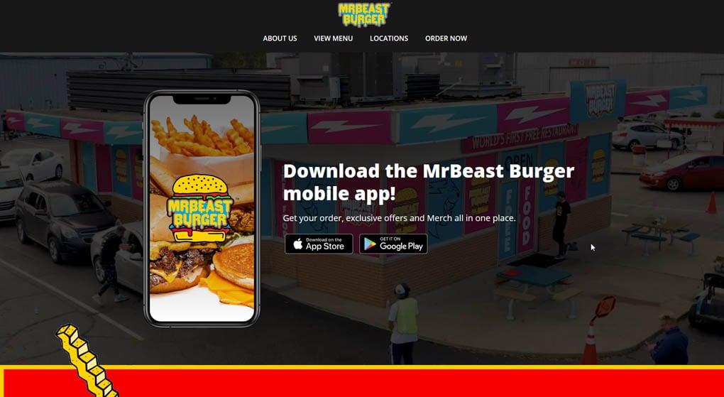 website of MrBeast Burger. Restaurant Website Design