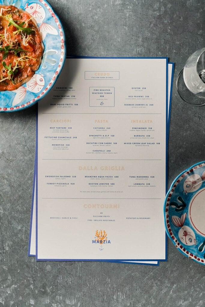 Osteria Marzia - Restaurant Menu Design by A Work of Substance