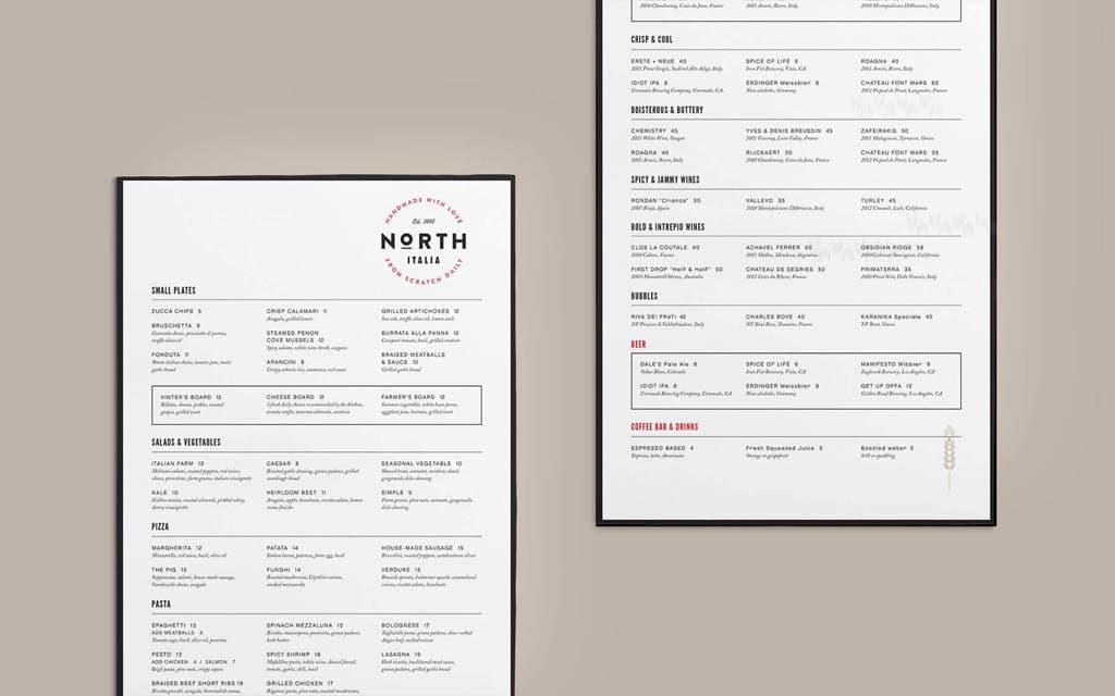 North Italia Restaurant Menu Design by Project M+