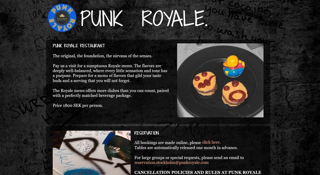 website of Punk Royale- a superhip unconventional luxury restaurant in Stockholm. Restaurant Website Design