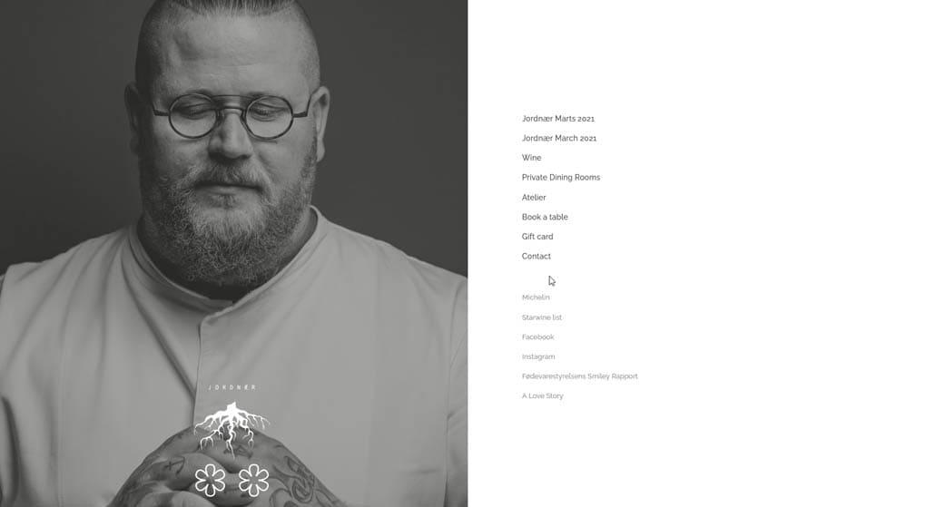 website of Jordnær - a two-star Michelin restaurant in Copenhagen