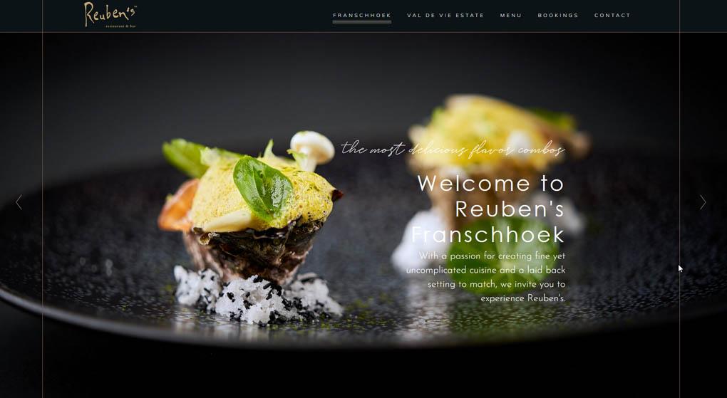 Website of Reuben´s Franshoek. Restaurant Website Design