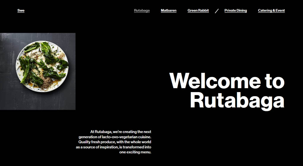 website of Rutabaga - a next-generation lacto-ovo-vegetarian cuisine in Stockholm