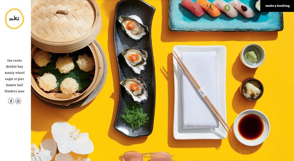 Saké Restaurant & Bar in Australia. Restaurant Website Design