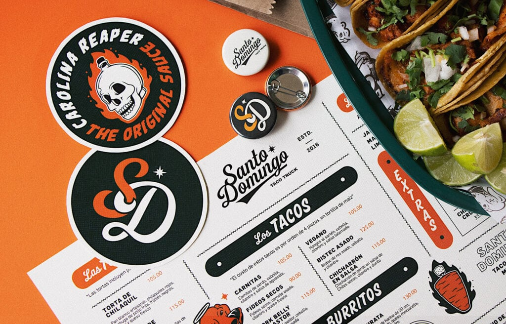Santo-Domingo Food Truck Tacos - Menu Design by The Hungry
