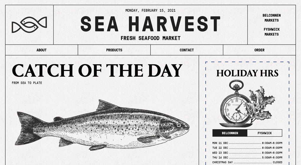 Website - Sea Harvest is a local fresh seafood market in Canberra