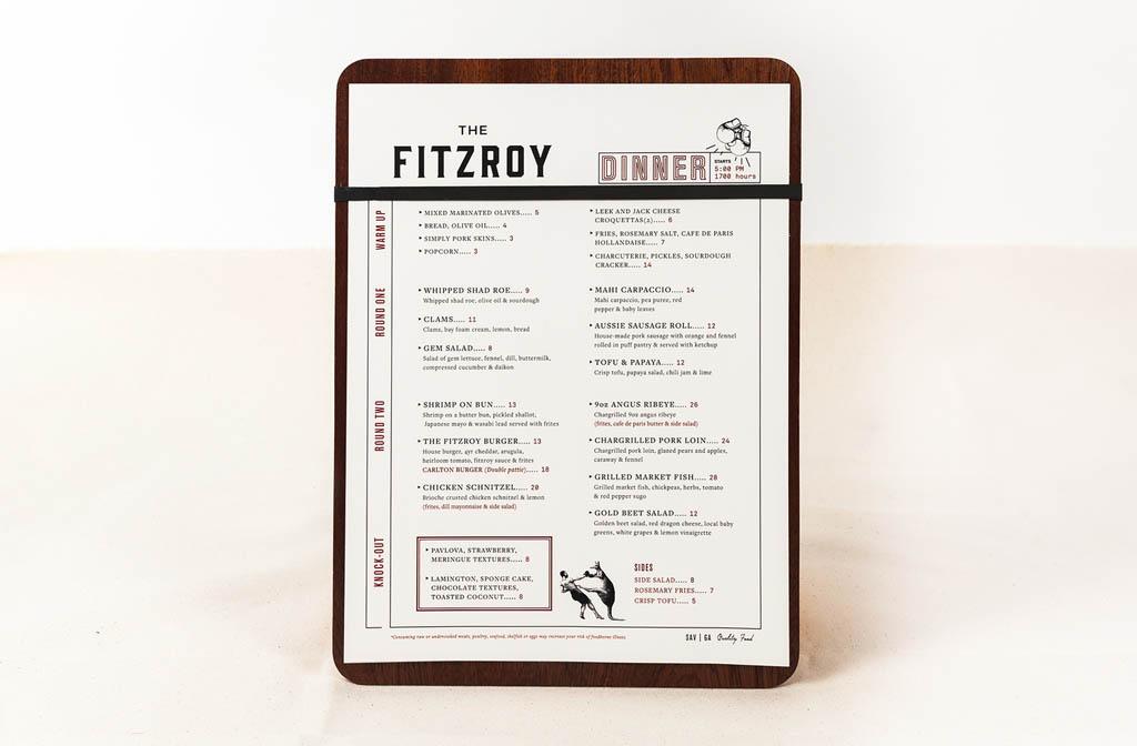 The Fitzroy Savannah - Menu Design by Taylor Alley