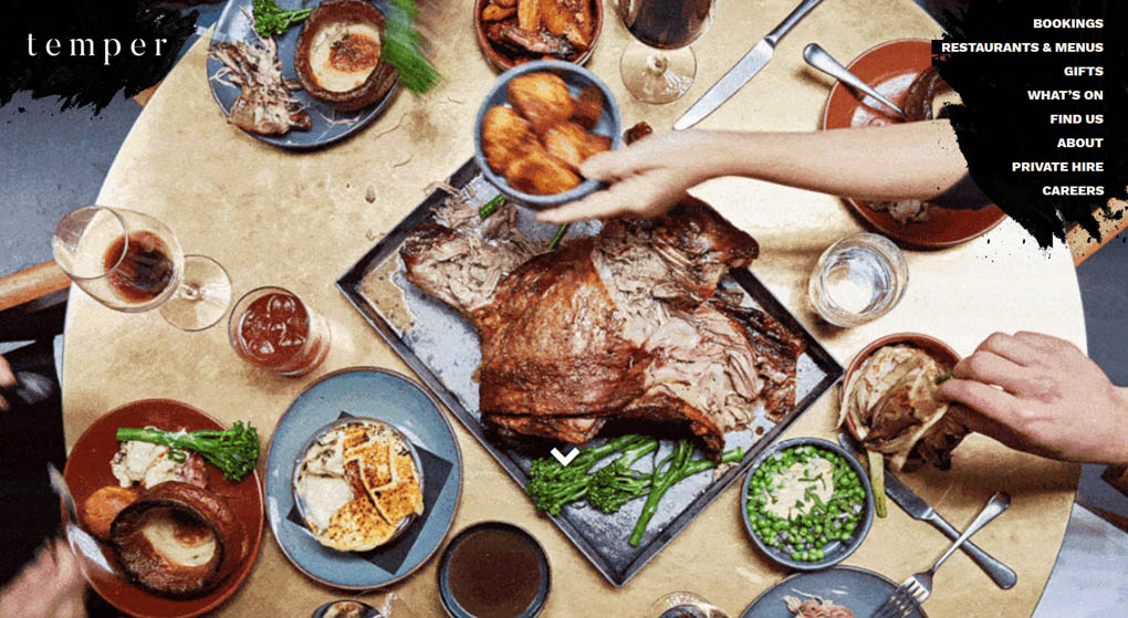 Temper is a barbecue and steakhouse - Restaurant Website Design