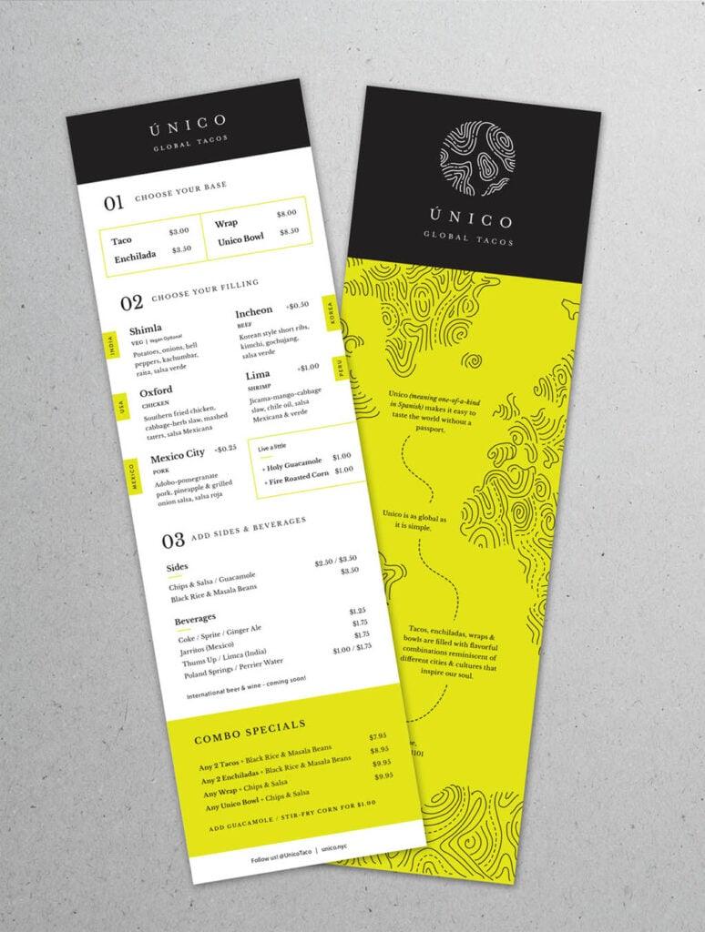 Unico Global Tacos Menu Design by Tonyc